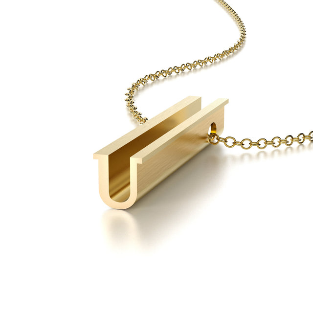 LETTER U NECKLACE-14k YELLOW GOLD VERMEIL-outlet