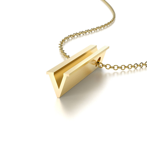 LETTER V NECKLACE-14k YELLOW GOLD VERMEIL-outlet