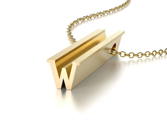 LETTER W NECKLACE-14k YELLOW GOLD VERMEIL-outlet