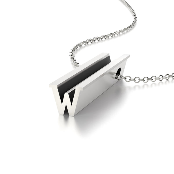 LETTER W NECKLACE-STERLING SILVER-outlet