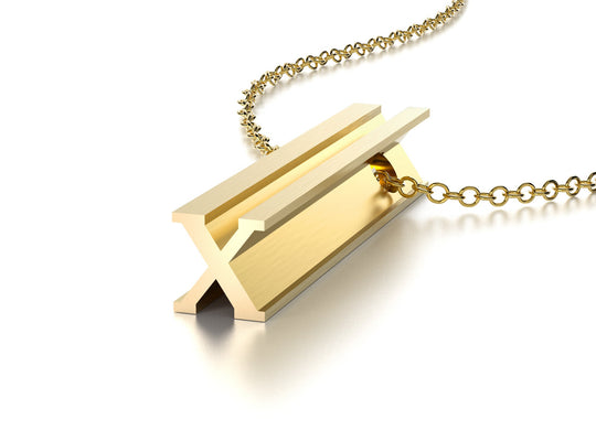 LETTER X NECKLACE-14k YELLOW GOLD VERMEIL-outlet