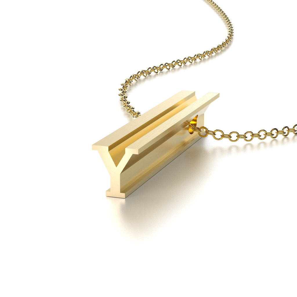 LETTER Y NECKLACE-14k YELLOW GOLD VERMEIL-outlet