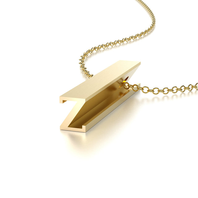 LETTER Z NECKLACE-14k YELLOW GOLD VERMEIL-outlet
