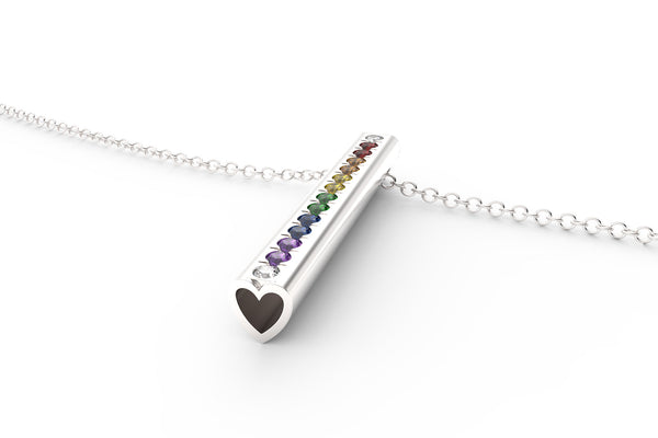 Rainbow Heart Necklace Multi Gemstone - Silver