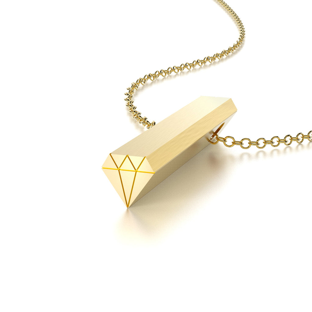 SYMBOL DIAMOND NECKLACE-14k YELLOW GOLD VERMEIL-outlet