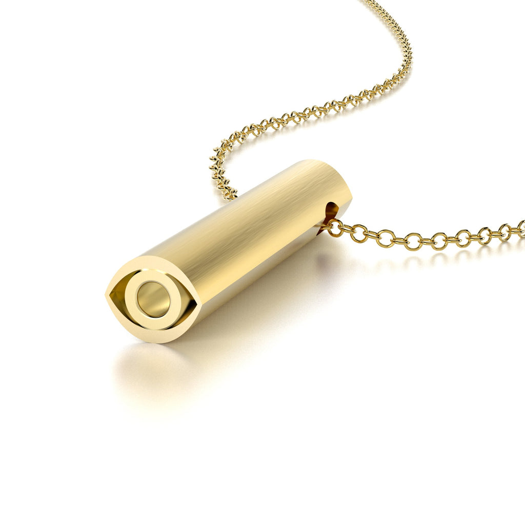 SYMBOL EVIL EYE NECKLACE-14k YELLOW GOLD VERMEIL-outlet