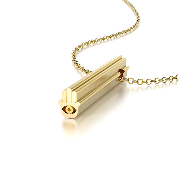 SYMBOL HAMSA NECKLACE-14k YELLOW GOLD VERMEIL-outlet