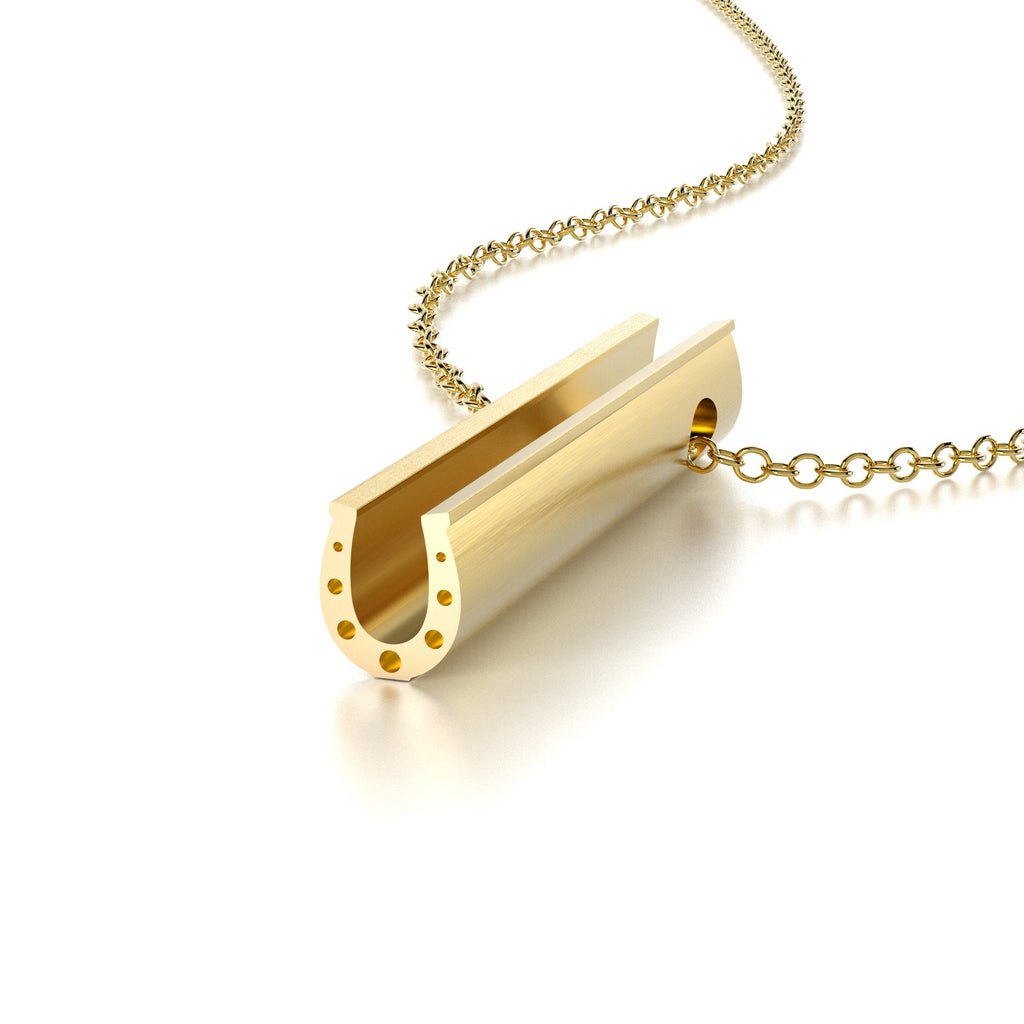 SYMBOL HORSESHOE NECKLACE-14k YELLOW GOLD VERMEIL-outlet
