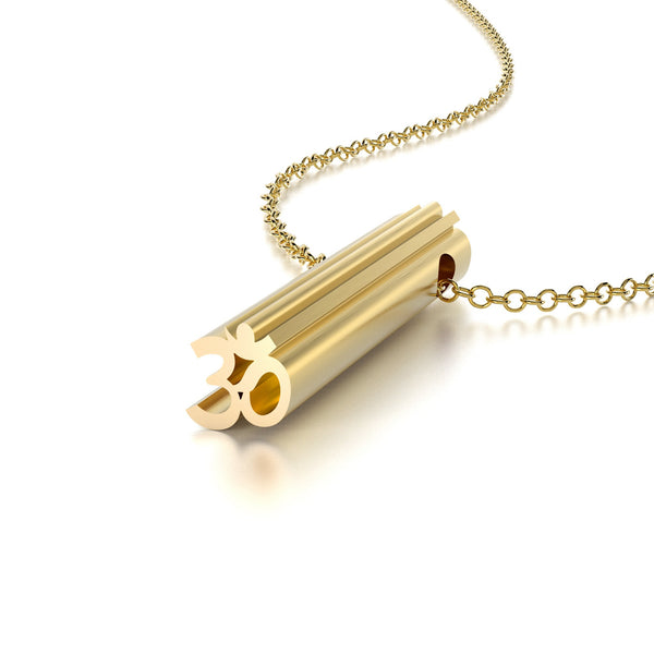 SYMBOL OM NECKLACE-14k YELLOW GOLD VERMEIL-outlet