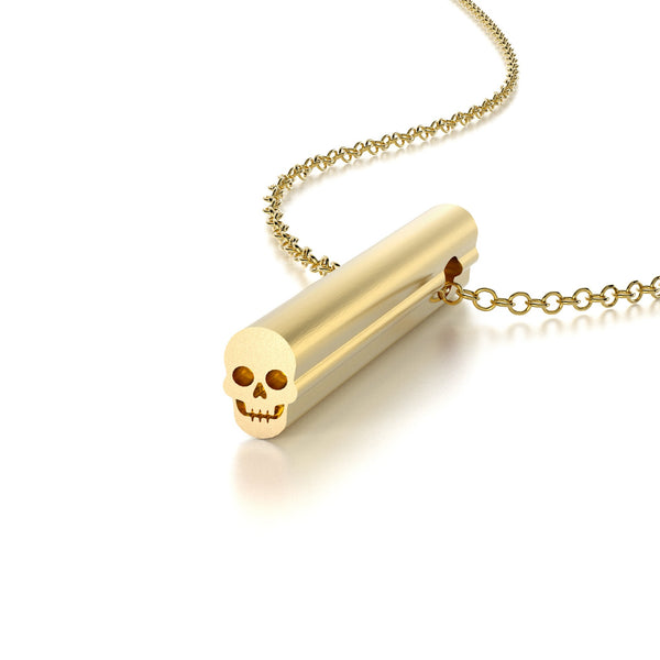 SYMBOL SKULL NECKLACE-14k YELLOW GOLD VERMEIL-outlet