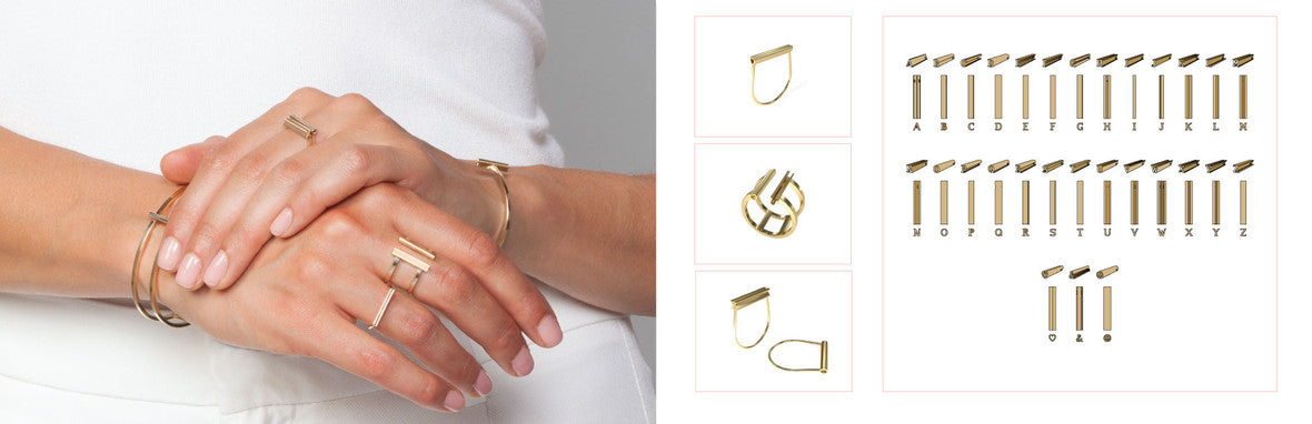 Beth Macri Hidden Message Mini Fine Jewelry Lookbook Personalized 14k Collection rings earrings and bracelets