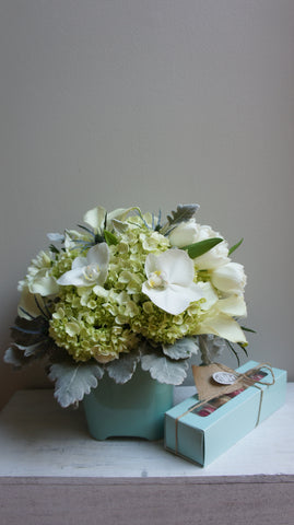 Green and White Arrangement