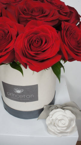 Red Roses in Round Box with Ceramic Scented Rose & Card