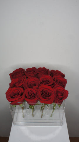 Dozen of Red Roses in Acrylic Box