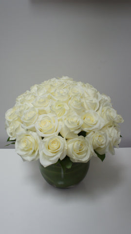 Modern White Rose Arrangement