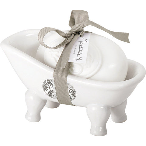 Volutes Ceramic Bathtub Soap-holder w/ soap