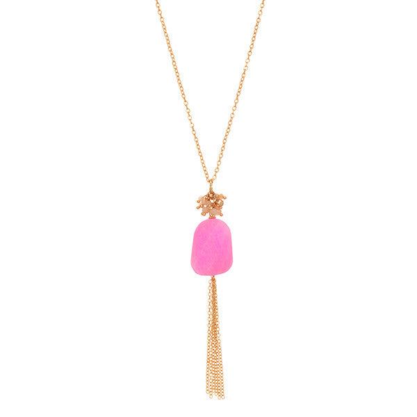 Pink Stone Tassel Necklace - Anna Jane
