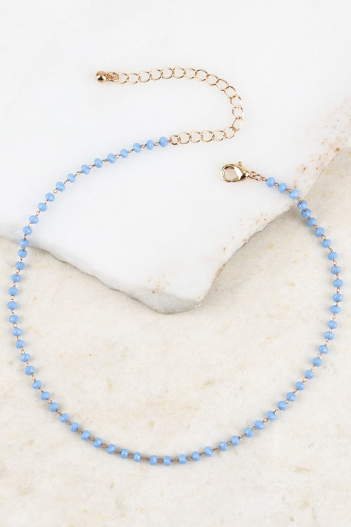 Blue Crystal Bead Chain Necklace