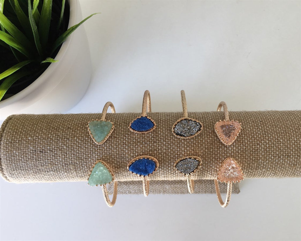 Royal Blue Druzy Cuff Bracelet - Anna Jane  - 5