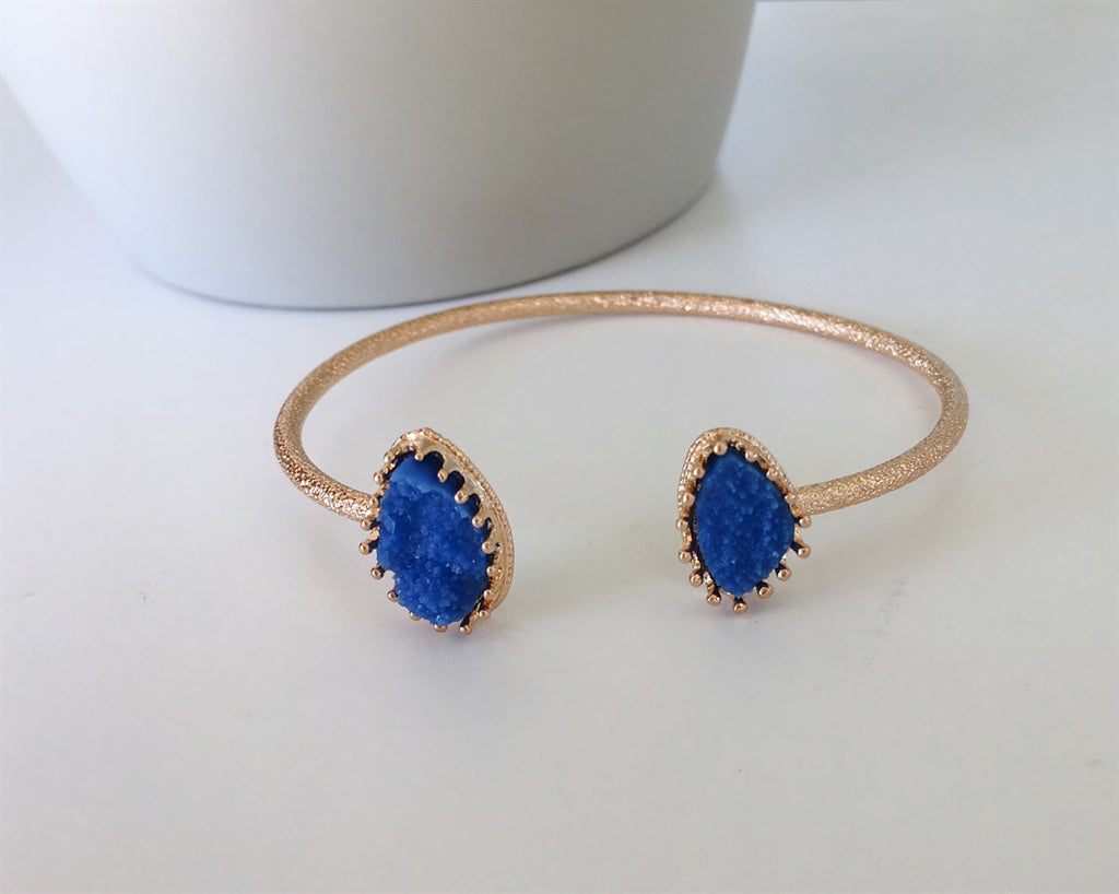 Royal Blue Druzy Cuff Bracelet - Anna Jane  - 1