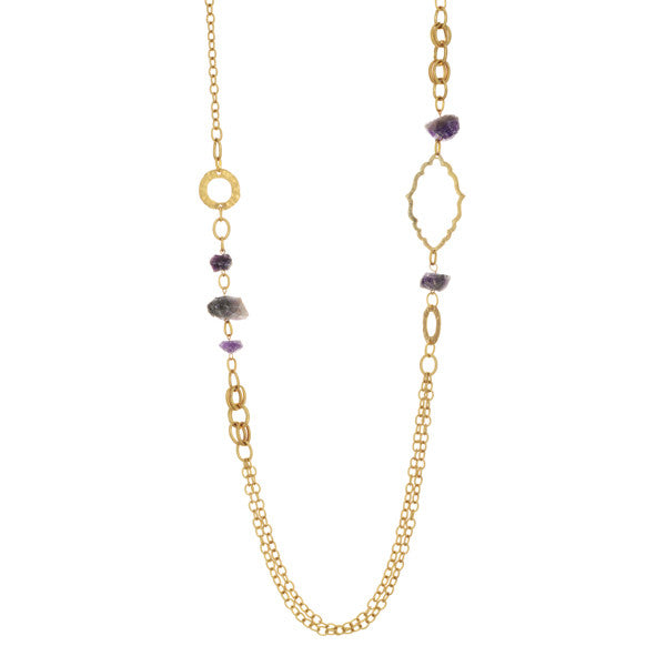 Amethyst + Gold Chain Necklace - Anna Jane