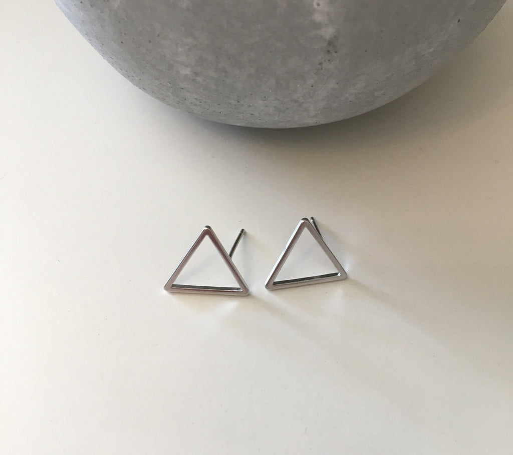 Large Triangle Studs- Silver