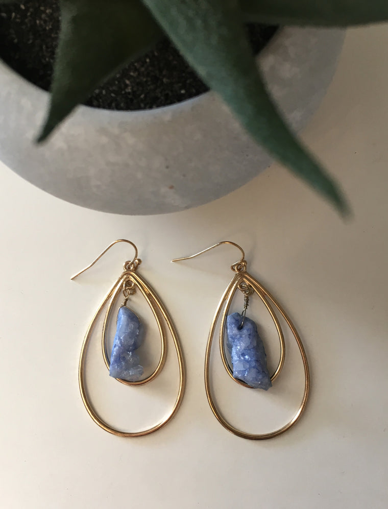 Double Teardrop Stone Earrings- Blue