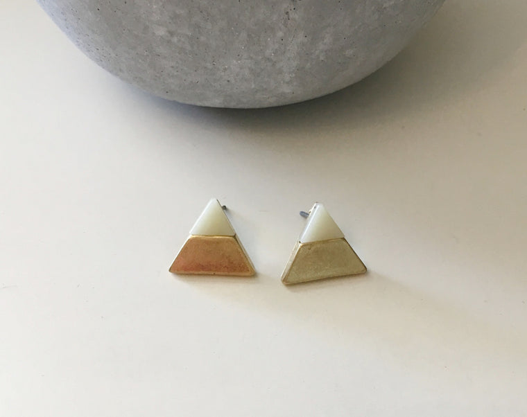 Gold Dipped Precious Stone Studs- Yellow