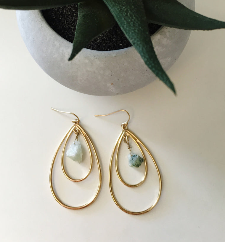 Double Teardrop Stone Earrings- Mint