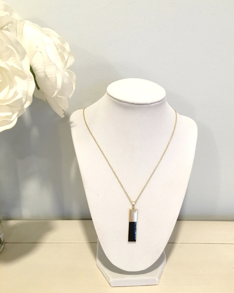 Simple Colored Bar Necklace- Black - Anna Jane  - 4