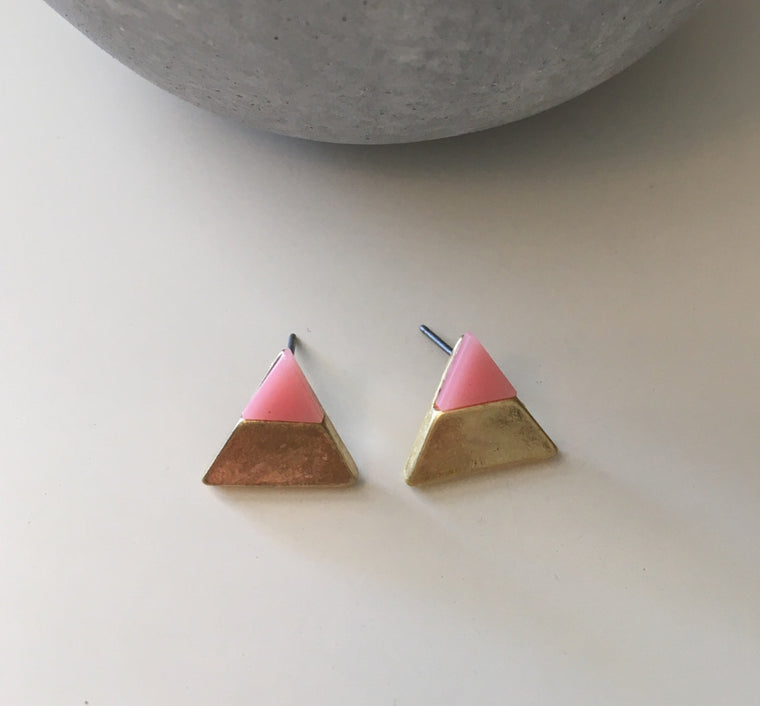 Gold Dipped Precious Stone Studs- Pink