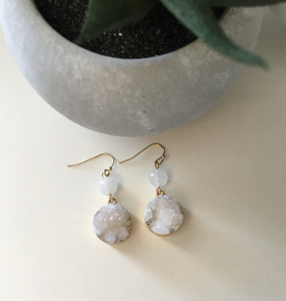 Round Natural Druzy Drop Earrings