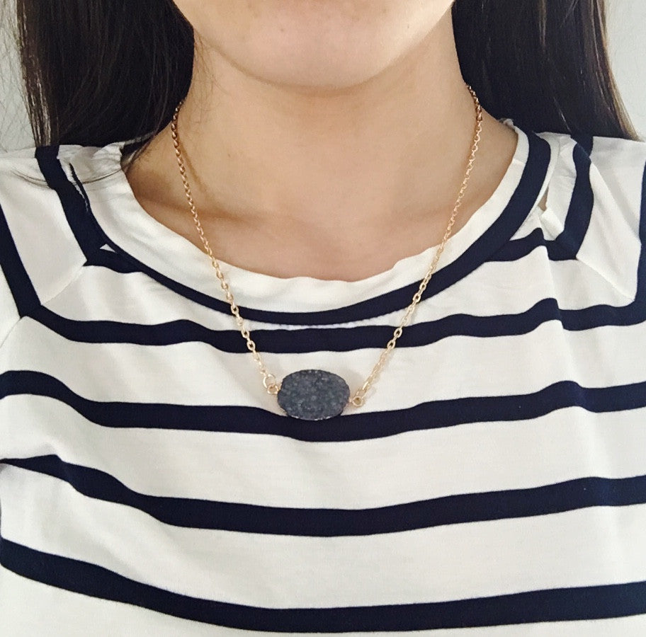 Natural Druzy Pendant Necklace- Navy