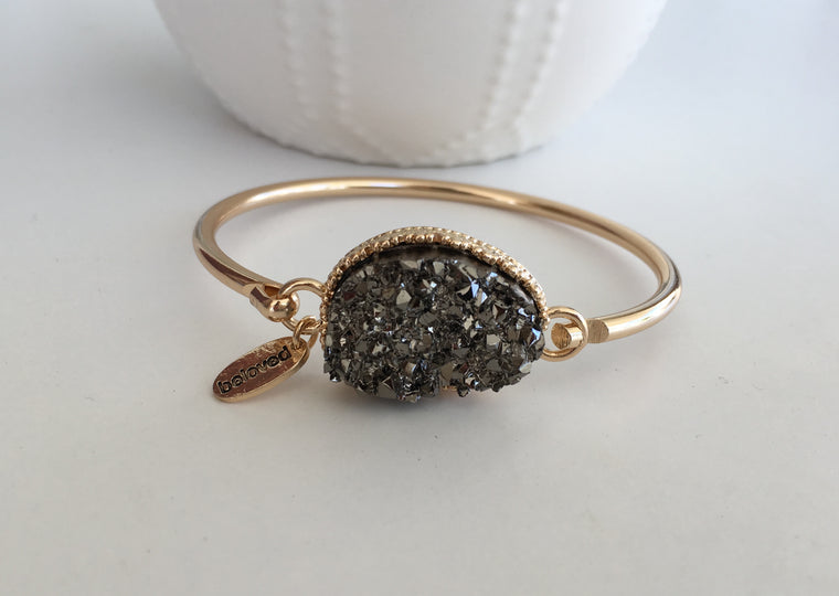 Gunmetal Large Druzy Bangle