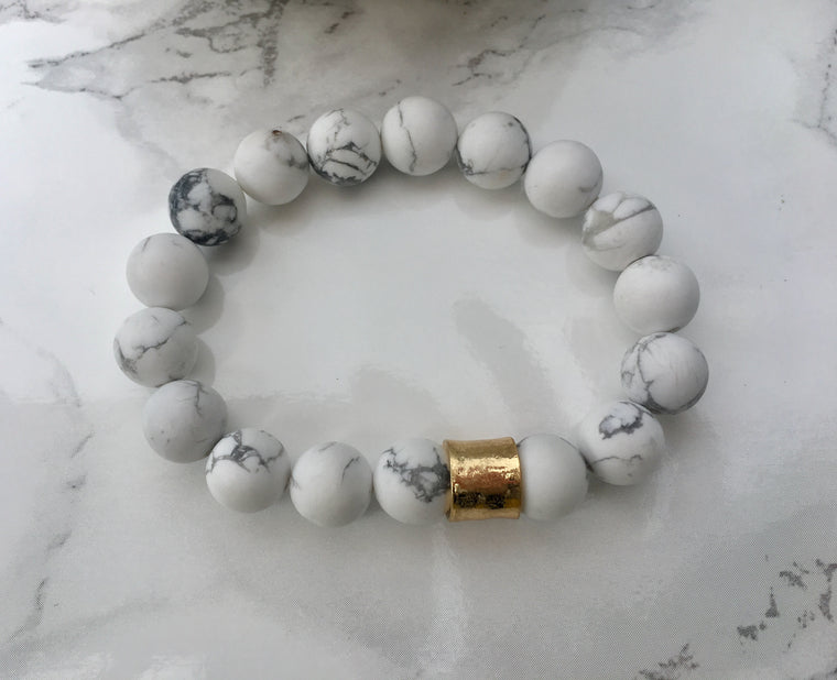 White Marble Stone Stretch Bracelet