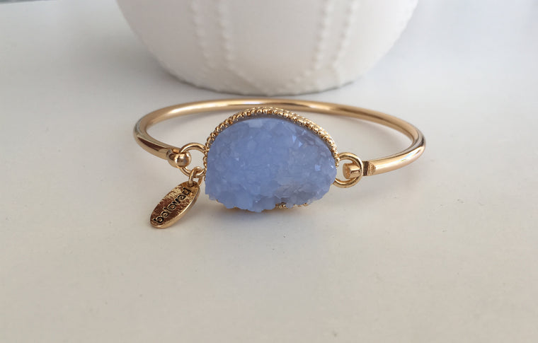 Periwinkle Large Druzy Bangle- Gold