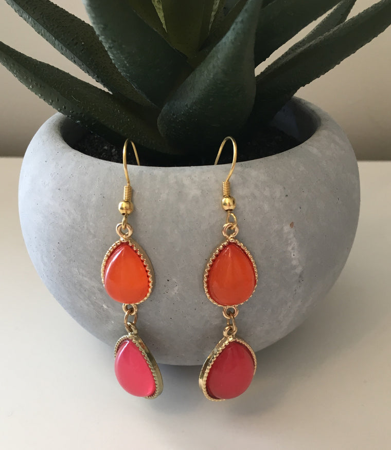 Pink + Orange Drop Earrings