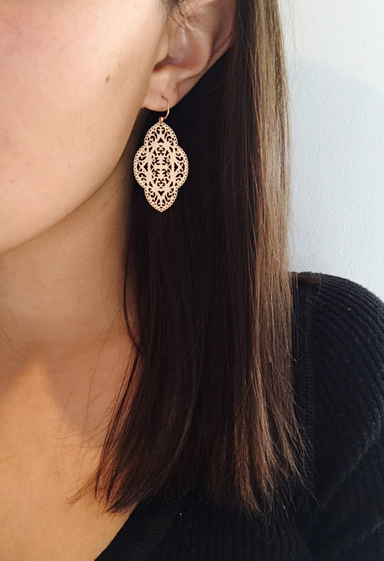 Gold Filigree Drop Earrings - Anna Jane  - 2