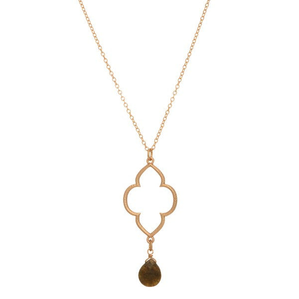 Gold + Stone Layering Necklace - Anna Jane  - 1