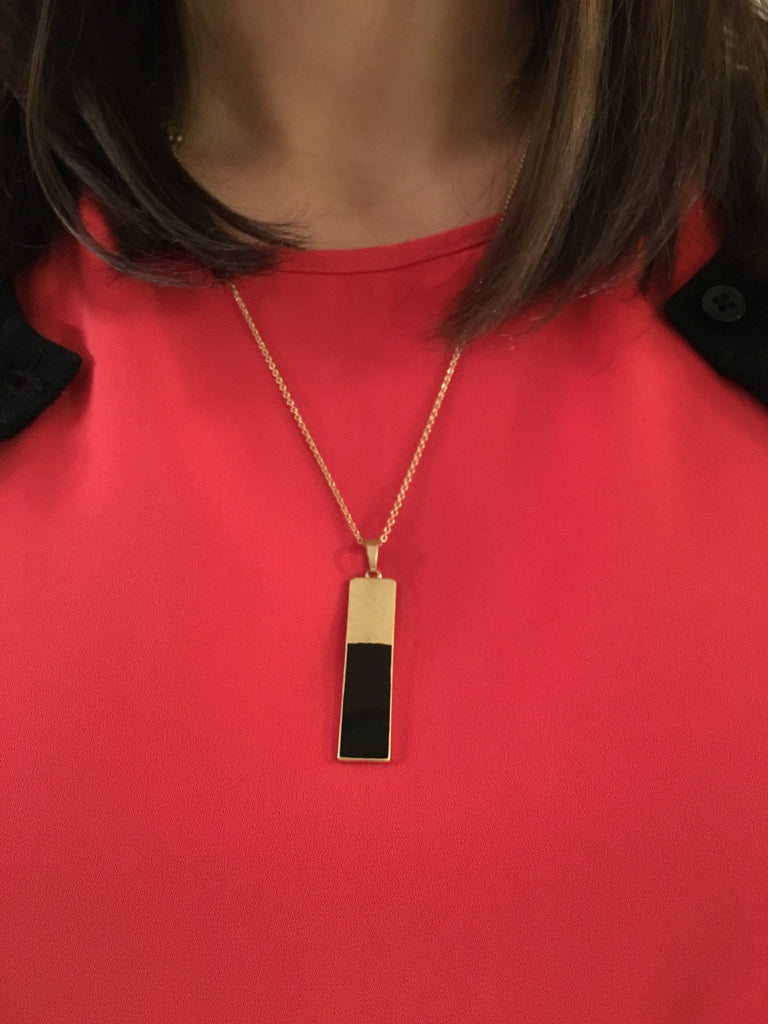 Simple Colored Bar Necklace- Black - Anna Jane  - 2