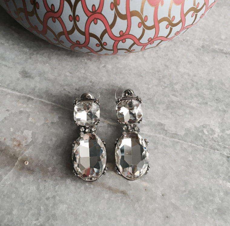 Teardrop Crystal Rhinestone Earrings - Anna Jane  - 1