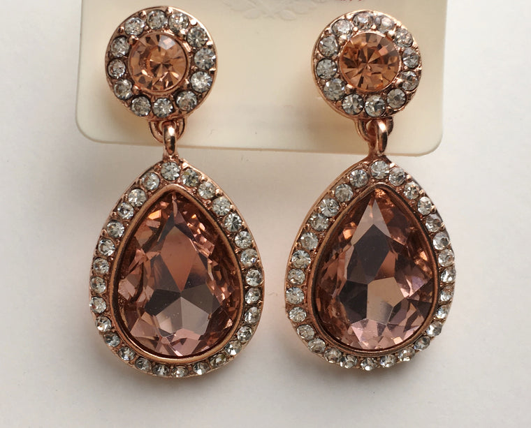 Framed Pear Drop Earrings- Rose Gold - Anna Jane  - 1