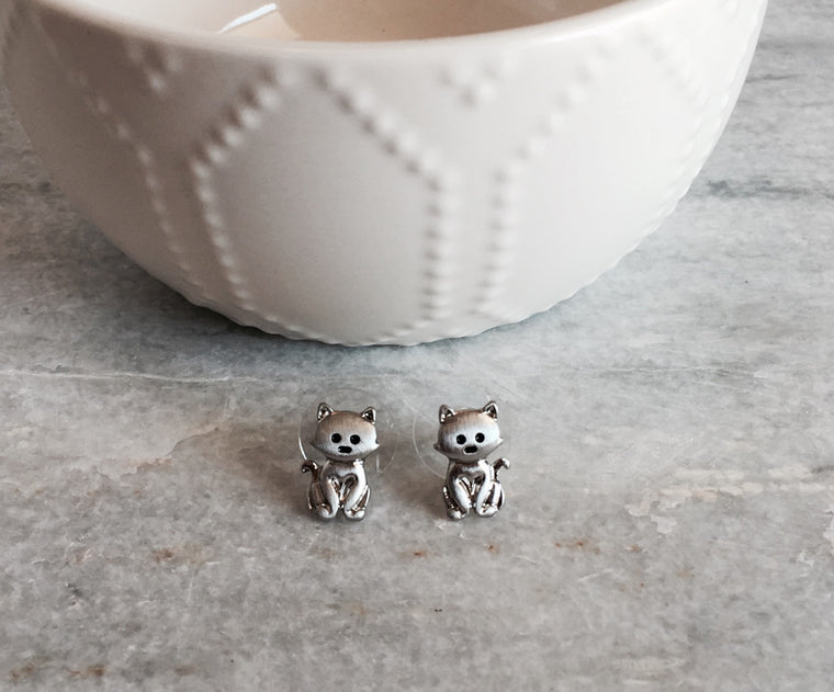 Tiny Cat Stud Earrings -Silver - Anna Jane  - 1