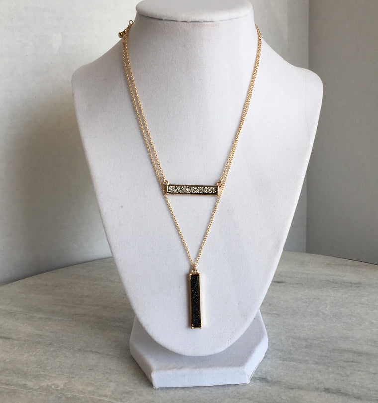 Layered Druzy Bar Necklace- Black + Gunmetal - Anna Jane  - 1