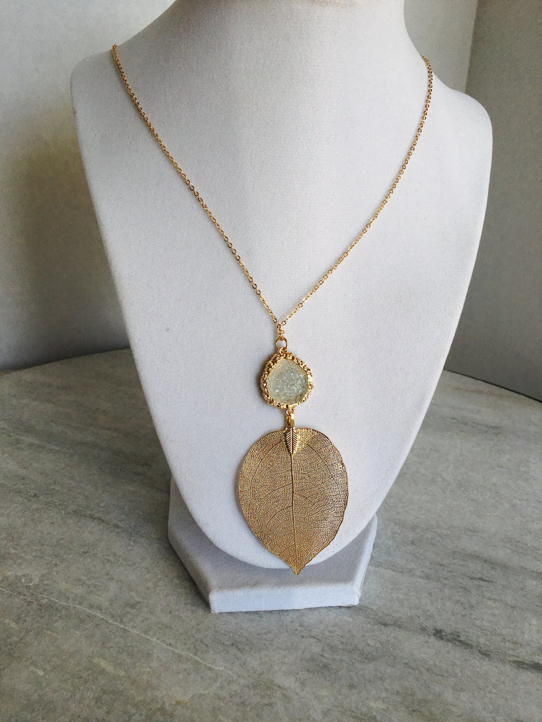 Gold Leaf Druzy Necklace - Anna Jane  - 1