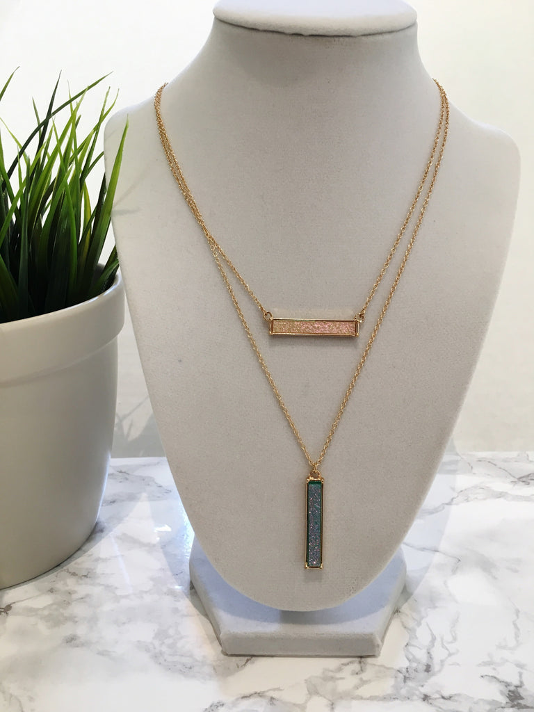 Layered Druzy Bar Necklace - Anna Jane