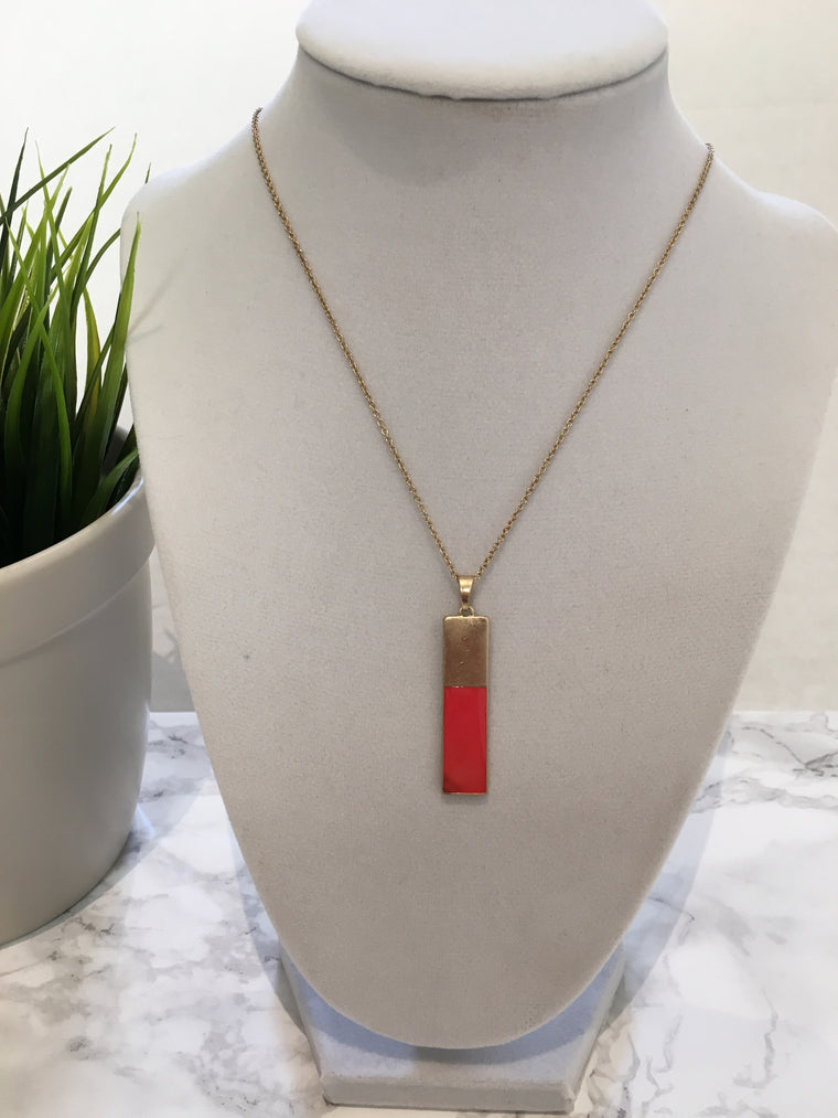 Simple Colored Bar Necklace- Coral - Anna Jane  - 1