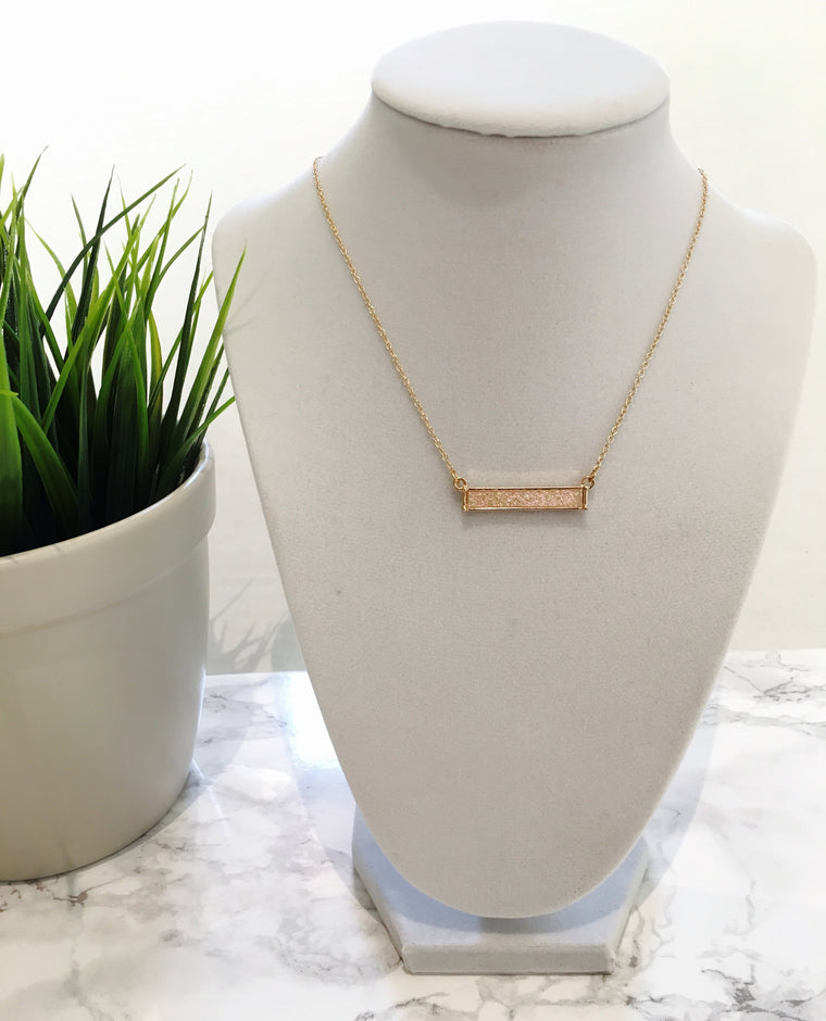 Pink Druzy Bar Necklace