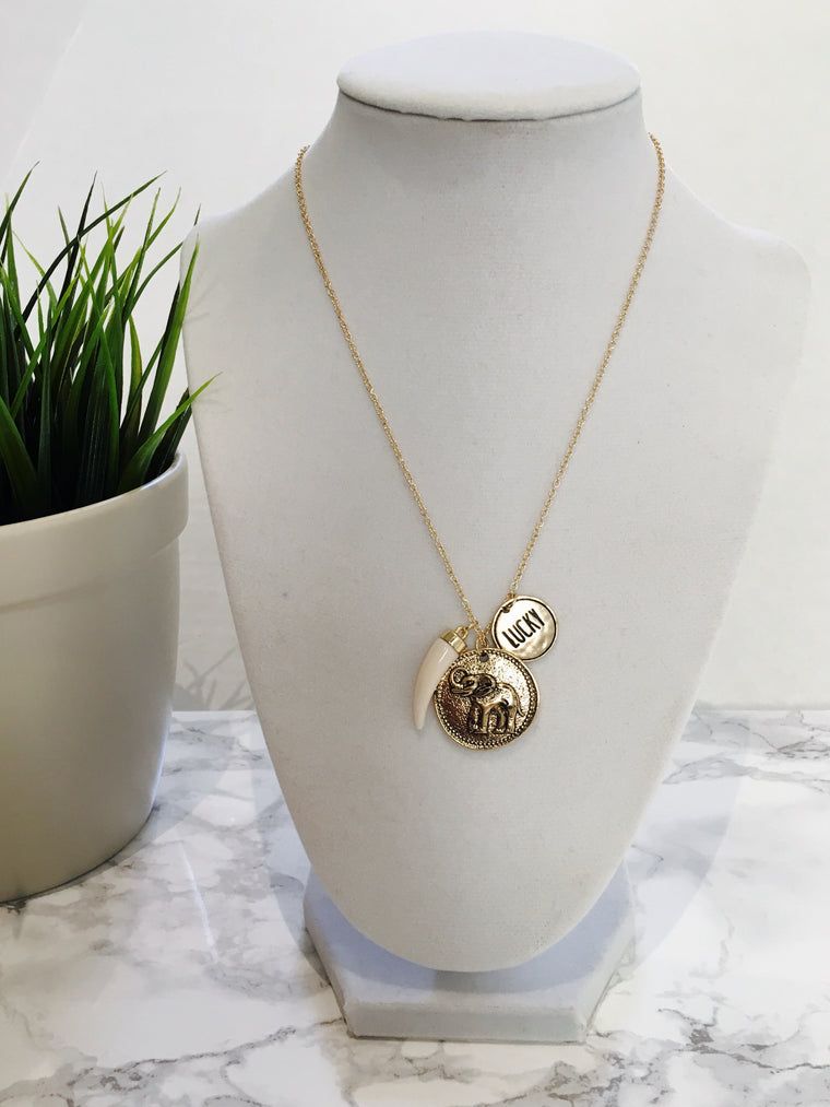Lucky Elephant Pendant Necklace - Anna Jane  - 1
