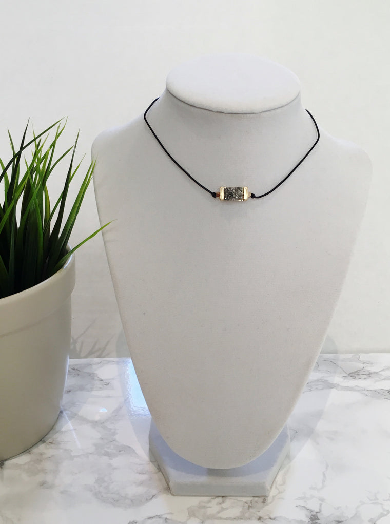 Gunmetal Druzy Choker Necklace - Anna Jane  - 1